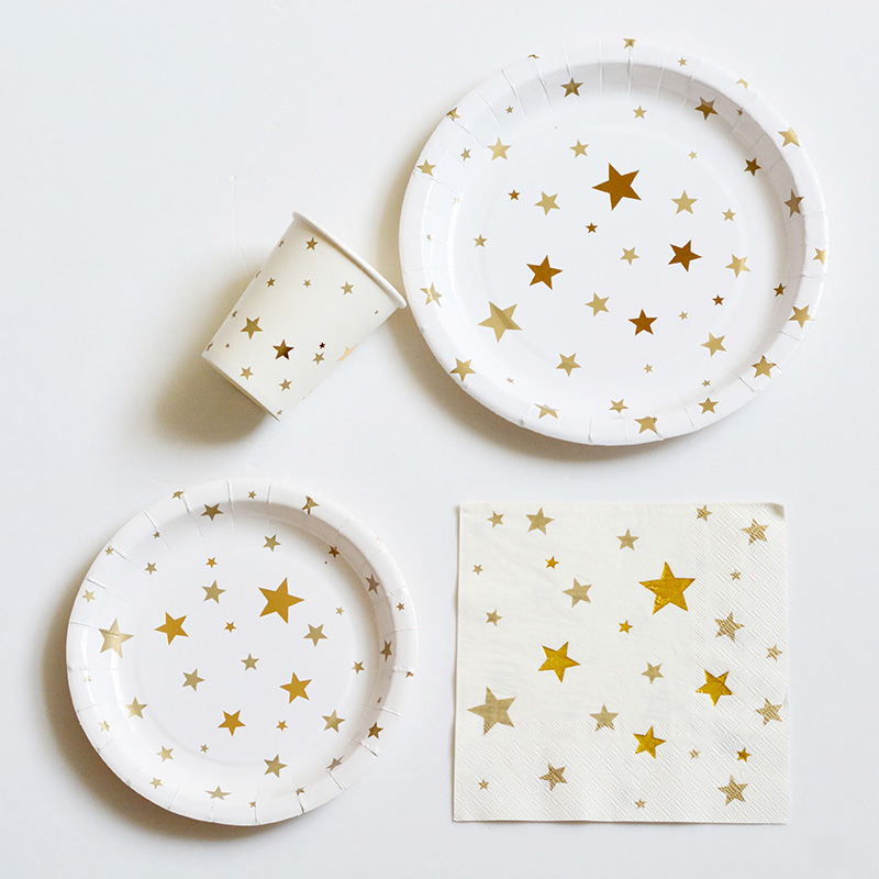 Gold Foil star Party Paper plates and cups