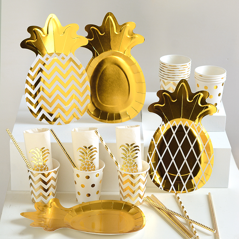 Gold Dot Paper Partyware Sets for Anniversary